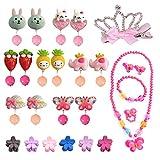 EQLEF Ohrclips Kinder Set, für kleine Prinzessin mit Halskette Armband Krone Haarspangen Mini...