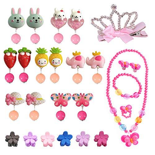 EQLEF Ohrclips Kinder Set, für kleine Prinzessin mit Halskette Armband Krone Haarspangen Mini Haargreifer, niedliche Schmuck-Kits für Mädchen verkleiden Sich (26 Stück)