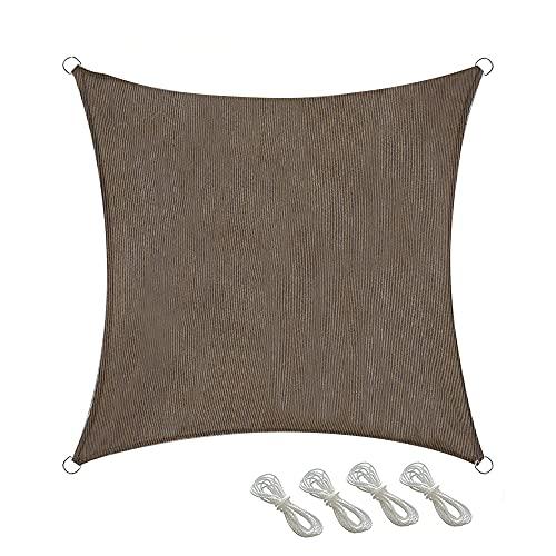 Sombra Transpirable De Hdpe para El Patio Cuadrado del Jardín De La Malla De La Sombra del Jardín con 4 Cuerdas(Size:157.5 X157.5in,Color:marrón)