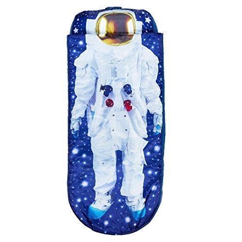 Worlds Apart Boys Ich Bin Astronaut Junior-ReadyBed – Kinder-Schlafsack und Luftbett in einem, Blue, 75 x 75 x 90 cm