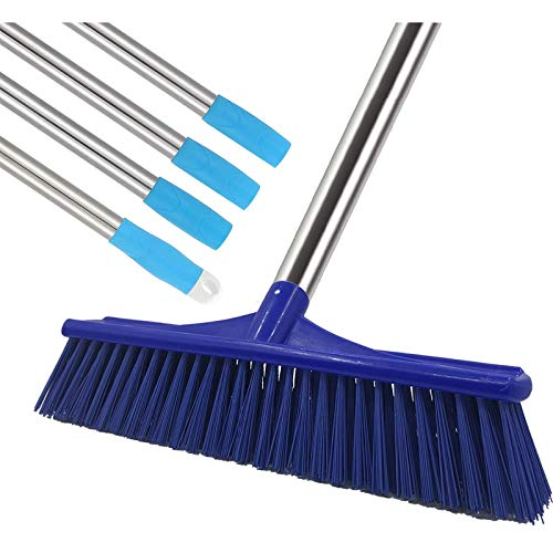 MIYA Floor Scrub Brush - Grout Cleaner Brush with 4ft Lightweight Stainless Steel Handle Pole - Stiff Bristle Concrete Broom and Tile Scrubber for Bathroom, Patio, Kitchen, Wall, Deck and Garage