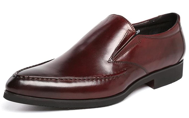 WOUFO 商標登録079889 メンズ レザー ビジネスシューズ 本革 ヨーロッパ風 ビンテージ 革靴 ポインテッドトウ Uチップ サイドゴア モカシン ドレスシューズ ローファー スリッポン 紳士靴 オフィスシューズ (ブラウン)9198-1