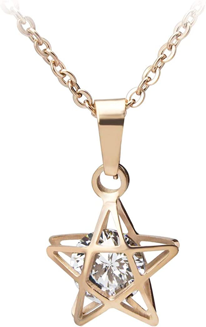555Jewelry Womens Stainless Steel Star Minimal Max 79% OFF Cubic Pe Zirconia Super popular specialty store