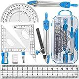 BAIBEI Kit di accessori per geometria e matematica, con righello, goniometro, compasso, mina per matita, portamine, gomma, matita arcobaleno e temperamatite, set di cancelleria da 10 pezzi