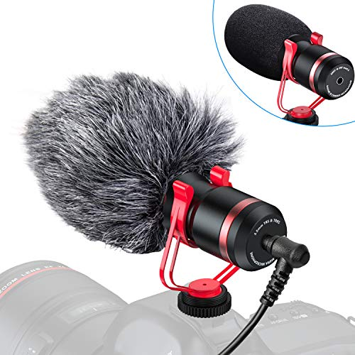 Video Microphone, Universal Camera Microphone Shotgun Mic with Shock Mount, Windscreen and 3.5mm Conversion Cable Compatible with iPhone, Android Smartphones, Canon EOS, Nikon DSLR Cameras, Camcorders