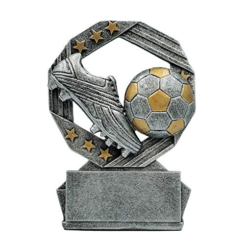 Soccer Hexa Star Trophy - Fútbol Award - Silver and Gold - 4.75 Inch Tall - Engraved Plate Upon Request