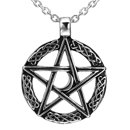 Vintage Style Pentacle Pentagram Crescent Moon Stainless Steel Pendant...
