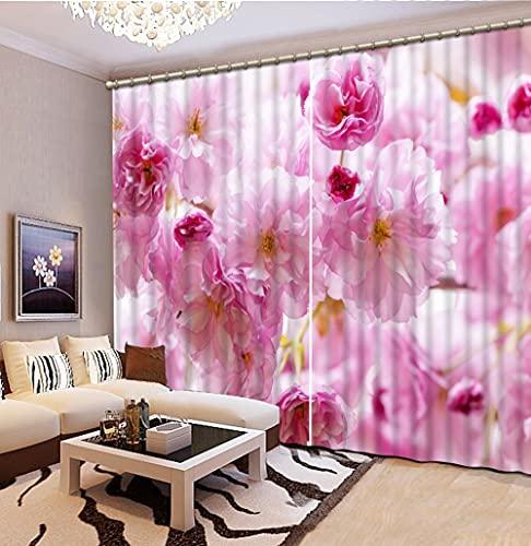 NBVGHJ Personalizza Tende Oscuranti Fiore Rosa Soggiorno Camera da Letto 3D Tenda per Finestra Tende per La Decorazione della Casa per Bambini (L) 300 × (A) 250 cm
