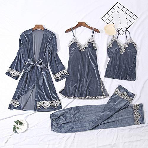 Dames Pyjama,4 Stks Pak Dames Sexy Fluwelen Pyjama Set Vrouwelijke KantLingerie Nachtkleding Loungewear Nachtkleding Homewear