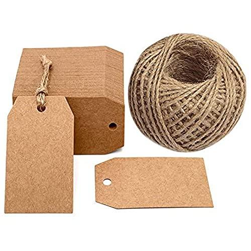 100 unidades de etiquetas para regalo, 4 cm x 7 cm con cuerda de yute 30 metros