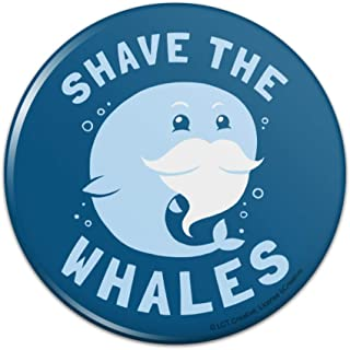 Shave the Whales Save Mustache Beard Pinback Button Pin - 1