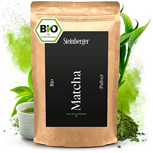 BIO Matcha Tee Pulver von Steinberger I Premium-Qualität I Original japanisches Grüntee Matcha Pulver I 100 g im wiederverschließbaren Aromapack (100 g)