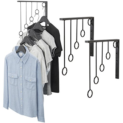 MyGift Set of 3 Wall-Mounted Metal Garment Rack/Bedroom Closet Clothing Organizer with 5 Hanging Rings, Black