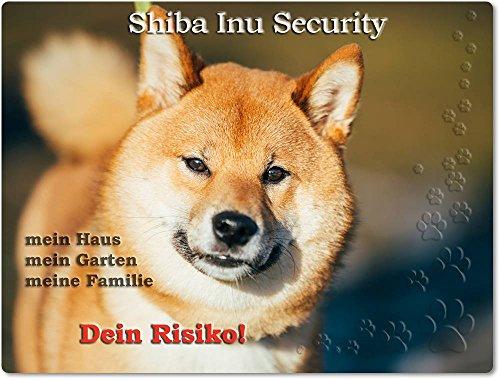 Merchandise for Fans Warnschild - Schild aus Aluminium 15x20cm - Motiv: Shiba Inu Security (01)