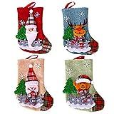 Xnuoyo Medias de Navidad, 4PCS Christmas Stocking Calcetines Decoración Navideña Caramelo Regalo Bolsa Calcetín de Navidad, Decoración de Navidad y Accesorio de Fiesta, Adornos Árbol de Navidad