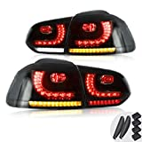 VLAND Full LED Tail Lights Assembly Compatible for VW Volkswagen Golf6 MK6 2010-2014 Rear Lamp Assembly, YAB-GEF-0183A (Smoke)