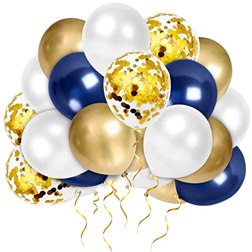 Sunshine smile 50 Stück Blau Weiß Gold Konfetti Latex Ballons,Luftballons Helium Hochzeit,Luftballons Helium,Blau Weiß Metallic Ballons (Gold)