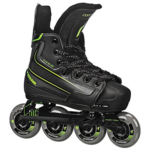 Tour Hockey Code-9 Youth Verstellbare Inline Hockey Skate, 39TY, Euro Größe 28.5 bis 32.5 Euro