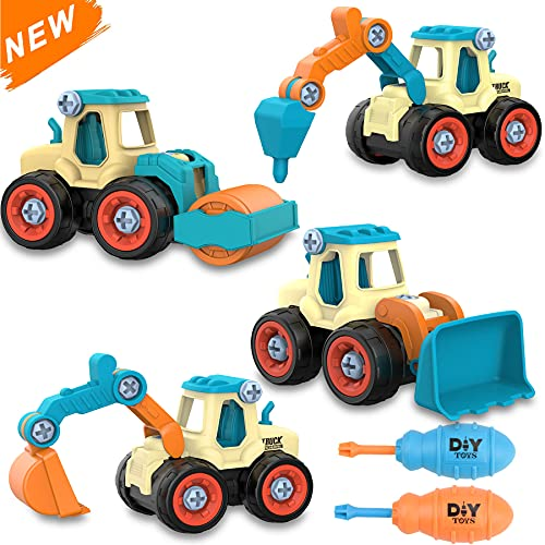 ZZLWAN Kids Toys STEM Toy Trucks: Toys for 3 4 5 6 Year Old Boys Toddler| Take Apart Construction Toys 4 Pack Car Set| Educational Building Excavator Vehicles| Birthday Gifts Boy Toys Age 3-8