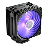 Cooler Master Hyper 212 RGB Black Edition CPU Air Cooler, SF120R RGB Fan, 4 CD 2.0 Heatpipes, Anodized Gun-Metal Black, Brushed Nickel Fins, RGB Lighting for AMD Ryzen/Intel LGA1151