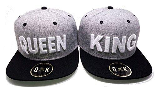 Preisvergleich Produktbild Partner Cap King & Queen,  Beauty & Beast,  Bonnie & Clyde (King / Queen,  Grau / Schwarz)