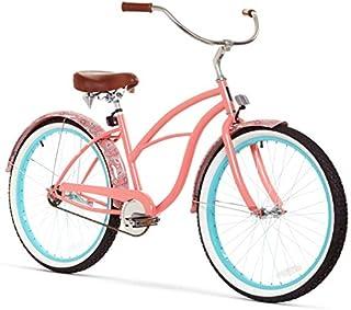 sixthreezero Women's Single Speed Beach Cruiser Bicycle, Paisley Coral Pink w/Brown Seat/Grips, 26