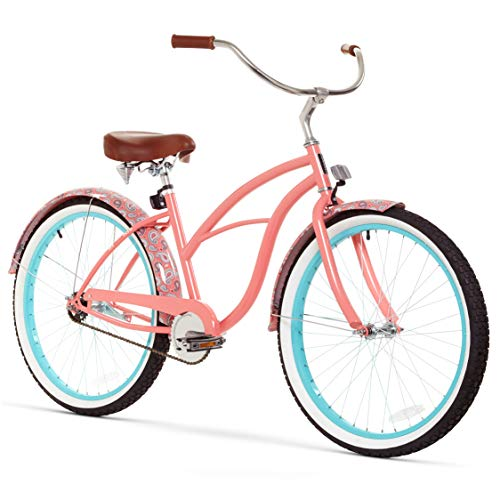sixthreezero Women's 1-Speed 26-Inch Beach Cruiser Bicycle, Paisley Coral Pink w/Brown Seat/Grips