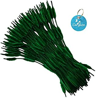 Pack of 100 Pipe Cleaners Fuzzy Bumpy Chenille Stems for Creative Handmade DIY Art Craft (Blackish Green)
