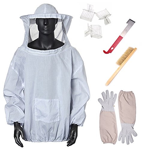 Khaki Luckyx Apiary Apiarist Beekeeping Jacket Suit Outfit 1 X Non-Flammable Fencing Veil Mesh Total Protection For Backyard /& Beginner Bee Keepers Medium