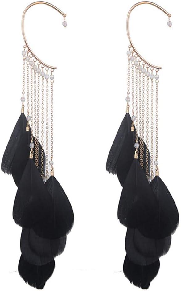 SONGLIN Black Feather Long Tassels Cuff Clip Earrings Ear Hook Crawlers Women Ear Cuff Jewelry