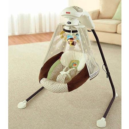 Fisher-price - Starlight Papasan Cradle Swing, Nite Nite Monkey with 3 Plush Hanging Toys Also Rotate on the Motorized Mobile by Fisher-Price