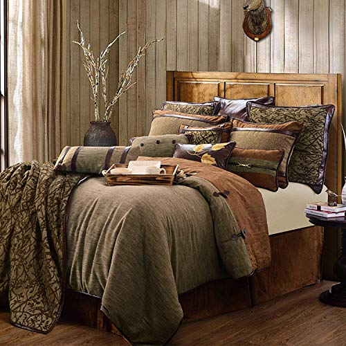 HiEnd Accents Highland Lodge Rustic Reversible Bedding Set, Super King, Brown 5 Piece
