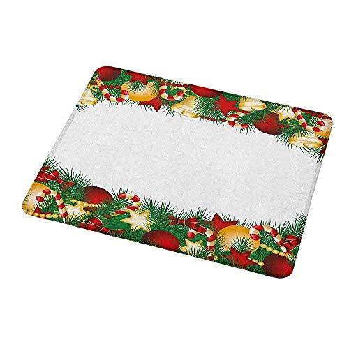 Gaming Mouse Pad Weihnachten, realistischer Weihnachtsbaum mit Objekten Sterne Kugeln und Fliegen Krawatten Illustration, Multicolorfor Laptops