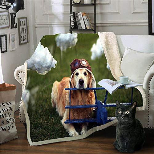 WNxiaobaozi Dekbedovertrekset, warme deken, 3D-print, unieke hoes voor vliegtuig, hoed en hond 59.05×78.74 in(150×200cm)