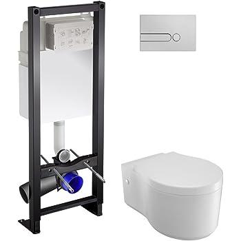 abattant de WC avec descente automatique Soft Close bord sans r/éservoir WC mural Tout-en-un Kit V1: Lavita pr/étexte /Él/ément Chrom/é Plaque