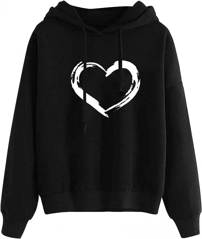 Fudule Graphic Hoodies for Teen Girl, Cute Heart Print Couple Sweatshirts Casual Long Sleeve Shirts Lightweight Fall Top