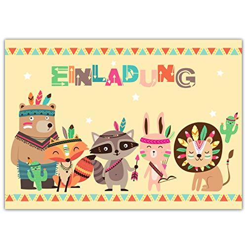 Pandawal 12x Einladungskarten Kindergeburtstag für Junge und Mädchen süße Indianer Tiere Boho Style perfekte Einladung für Geburtstag Taufe Party