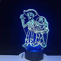 アニメフィギュアウッディバズライトイヤー3DイリュージョンLed常夜灯カラフルなライトエイリアンのおもちゃ