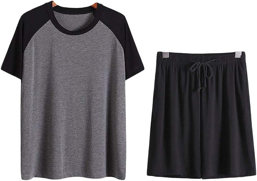 Howriis Men's Soft 2-Piece Sleepwear Short Sleeve Top and Shorts Pajama Set