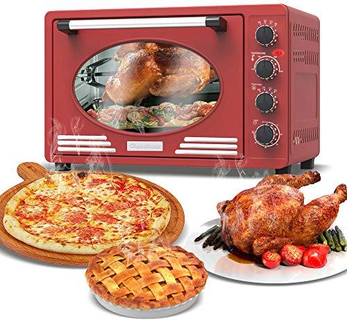 Mini-Backofen 45L mit Drehspieß, Backblech, Timerfunktion, Umluft, Innenbeleuchtung, Retro Design, Pizza-Ofen, 2000 Watt (rot)