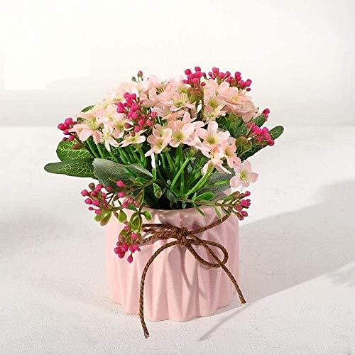 Artificiales flores artificiales en macetas Simulación de flores de decoración del hogar falsa en maceta salón de decoración de interiores pequeña flor bonsai 12 * 15cm Ramo adornos de decoración pot