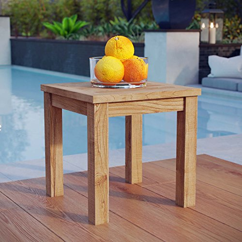Modway Marina Premium Grade A Teak Wood Outdoor Patio Square Side End Table in Natural