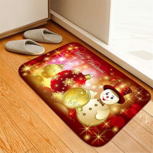 WFRAU Weihnachten Fußmatten Weihnachtsmann Schneemann Druck Quadrat Teppich Weihnachten rutschfeste Badematte für Eingang/Wohnzimmer/Schlafzimmer/Bad/Küche Tür Komfortable Boden Teppich 40x60cm