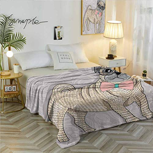 70' W x 84' L Pug Warm Bed Blanket Available in All Seasons Hipster Pug with Nerdy Glasses and Bow Tie Cartoon Design Funny Pale Grey Pale Yellow Pale Pink