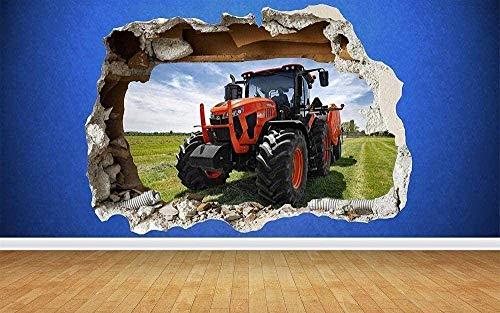 Tbagem-Yjr 3D wandaufkleber, wandsticker kinderzimmer Jungen Wandtattoo 3D Traktor rot Farm Jungen Schlafzimmer Animal Land Wandtattoo 3D-Kunst-Aufkleber fototapete 3D Effekt