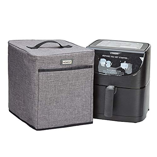 HOMEST Air Fryer Dust Cover with Accessory Pocket Compatible with COSORI Air Fryer 3.7 & 5.8 Quart, Grey (Patent Pending)