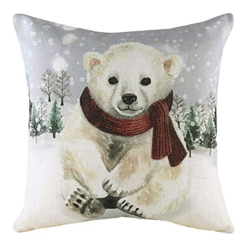 Evans Lichfield Snowy Polar Bear with Scarf Polyester Filled Cushion, Multi, 43 x 43cm