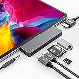 USB C HUB for iPad Pro 12.9' 2020,iPad Air4,Adapter for iPad Pro 11',7 in 1 iPad Pro Hub with 4K HDMI,3.5mm Headphone Jack,USB3.0,USB C PD Charging&Data,USB C Earphone Jack,SD/Micro SD