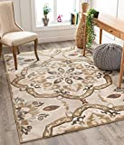 Well Woven Orchid Dorit Beige Traditional Mandala Floral 5'3' x 7'3' Low Pile Area Rug, Ivory