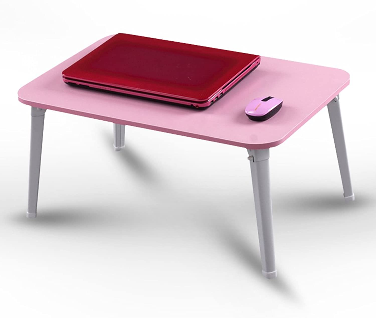 HAIPENG Small Folding Desk Computer Notebook Lazy Tables Foldable Bedside Table Wooden Dormitory (color   Pink, Size   60x40x29cm)
